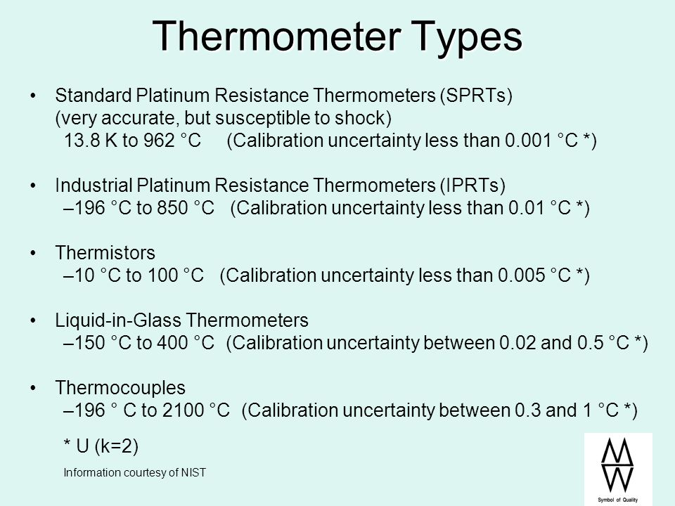 Thermometer Types Standard Platinum Resistance Thermometers (SPRTs)