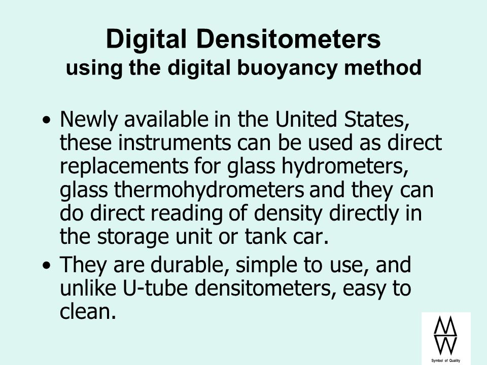 Digital Densitometers using the digital buoyancy method