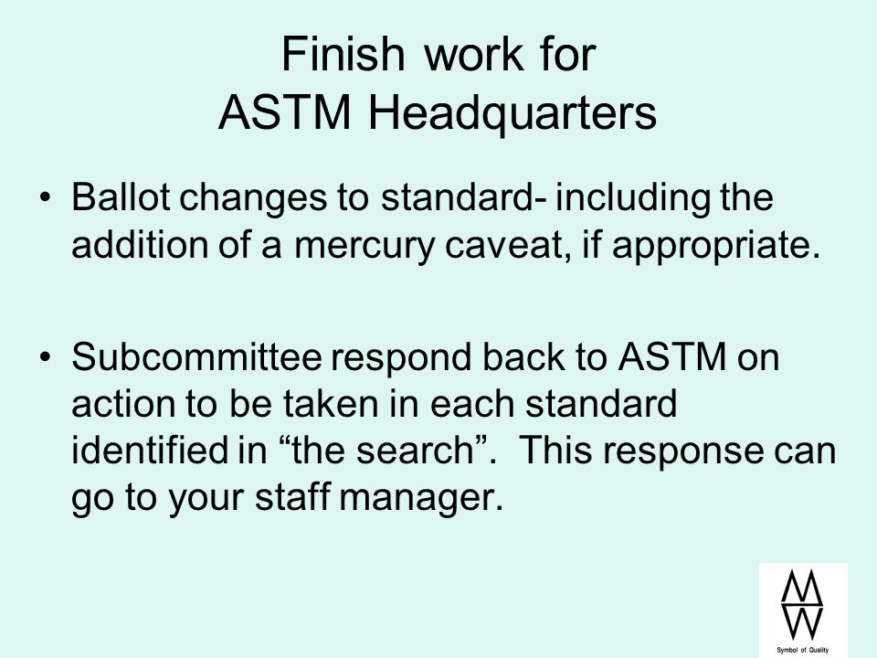 Finish work for ASTM Headquarters