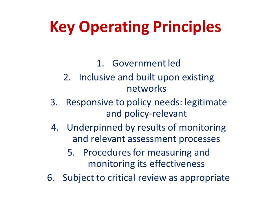 Key Operating Principles