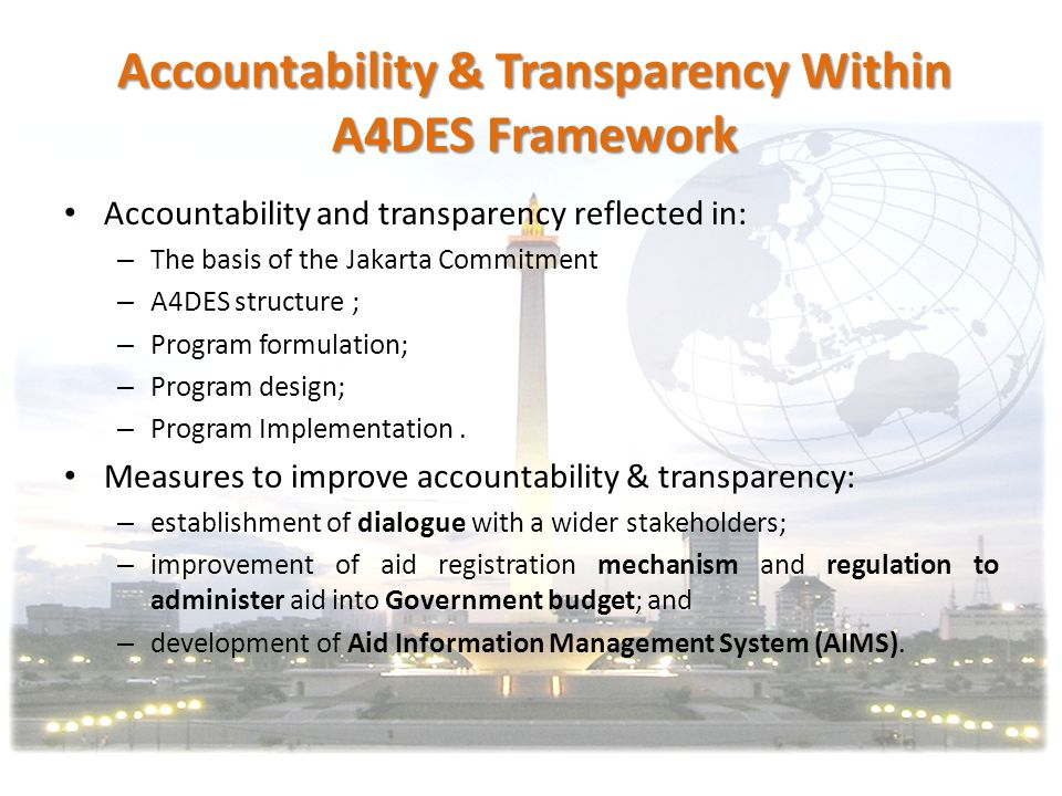 Accountability & Transparency Within A4DES Framework