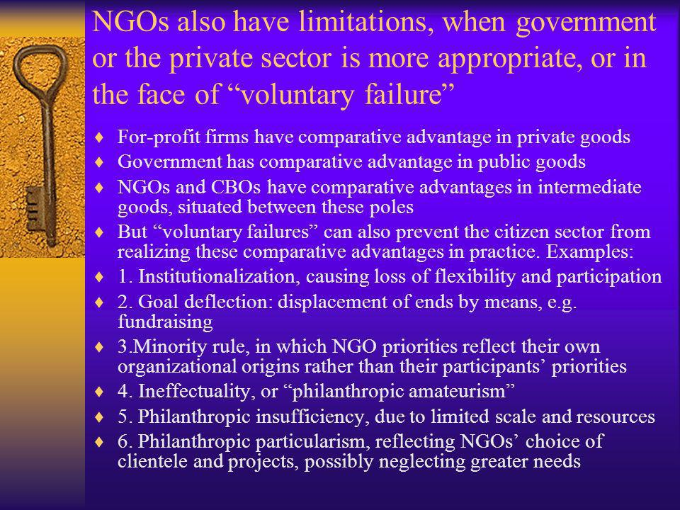 NGOs also have limitations, when government or the private sector is more appropriate, or in the face of voluntary failure