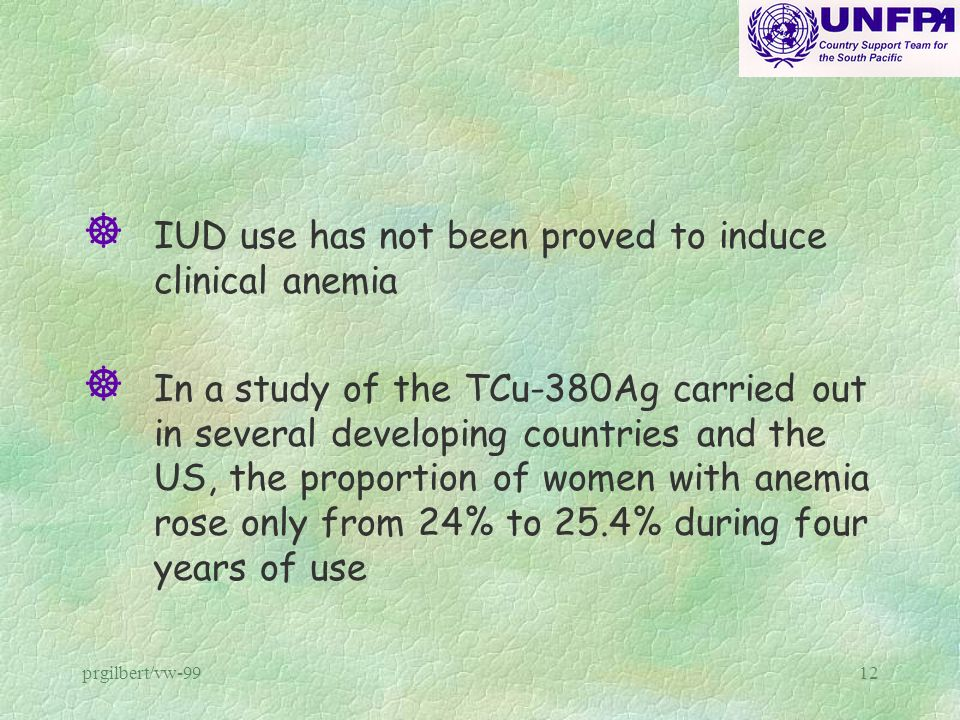 IUD use has not been proved to induce clinical anemia