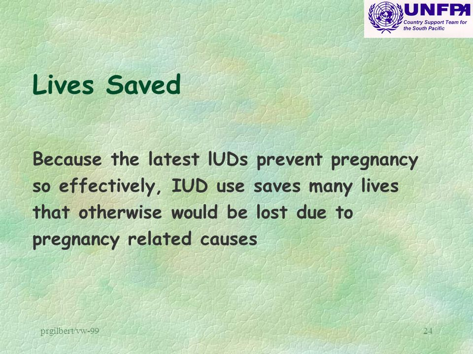 Lives Saved Because the latest lUDs prevent pregnancy