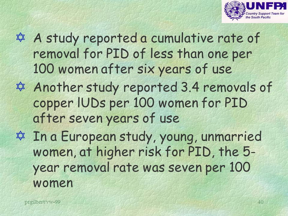 A study reported a cumulative rate of removal for PID of less than one per 100 women after six years of use