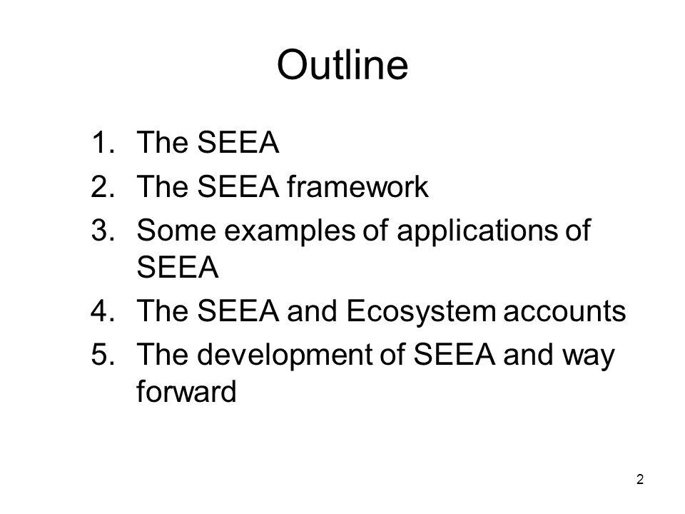 Outline The SEEA The SEEA framework