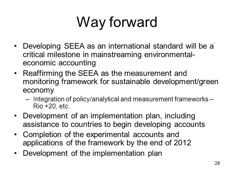 Way forward Developing SEEA as an international standard will be a critical milestone in mainstreaming environmental-economic accounting.