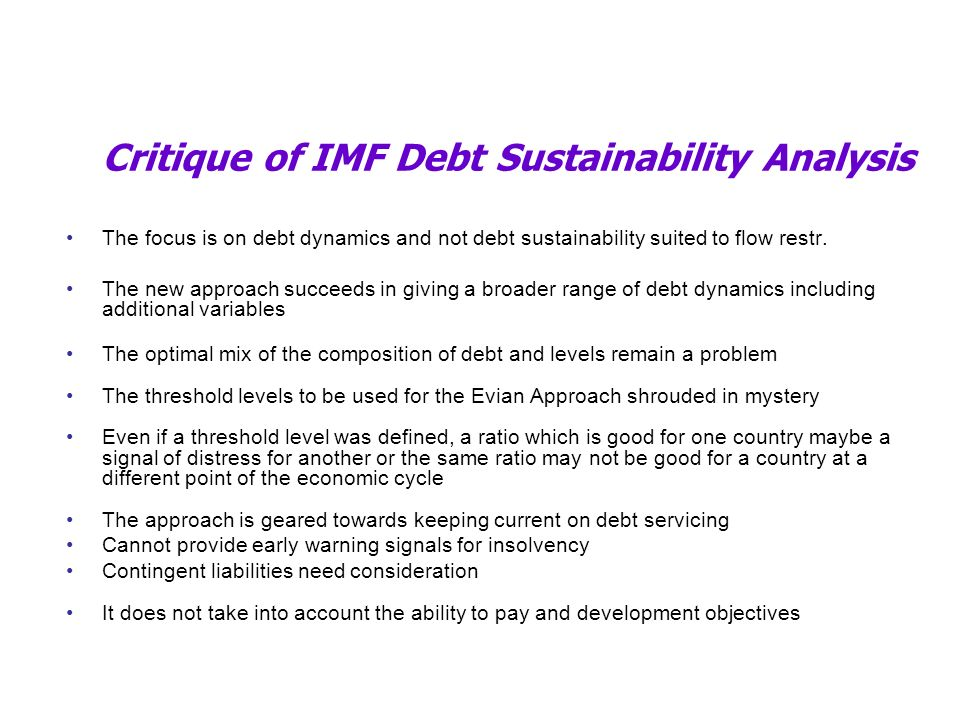 Critique of IMF Debt Sustainability Analysis