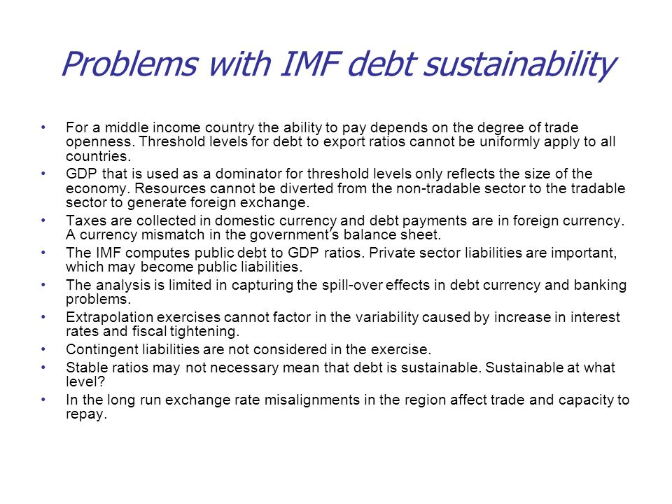 Problems with IMF debt sustainability