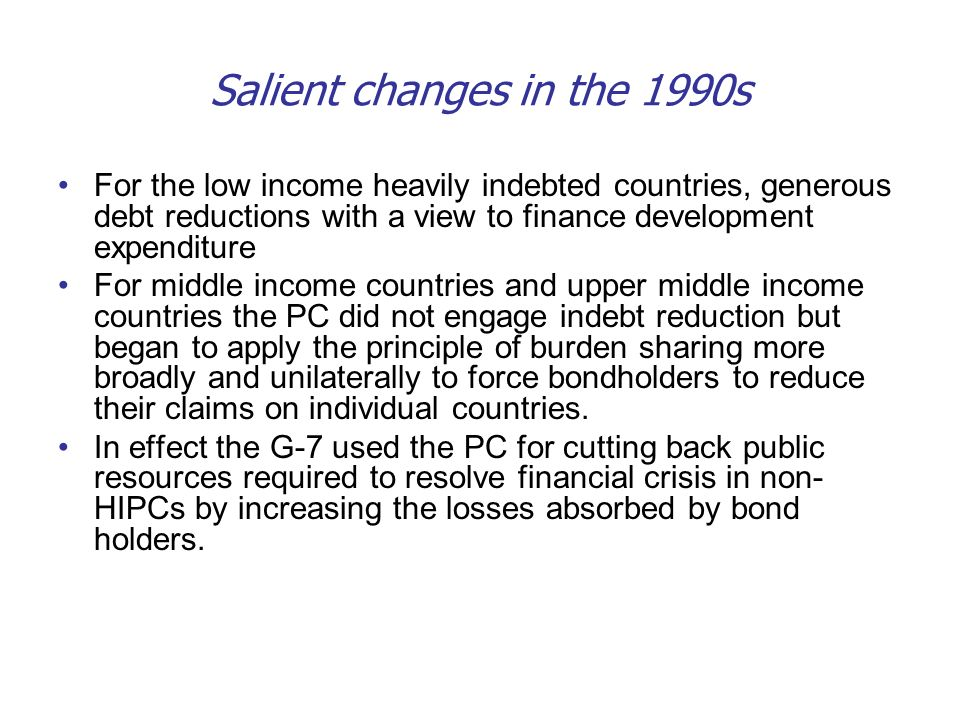 Salient changes in the 1990s