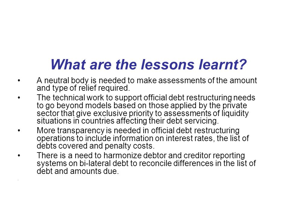 What are the lessons learnt