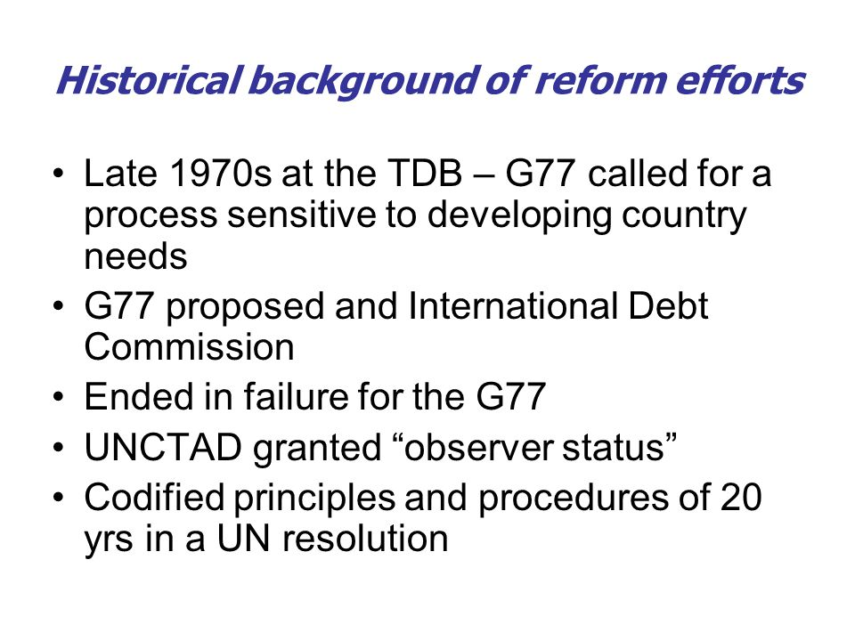 Historical background of reform efforts