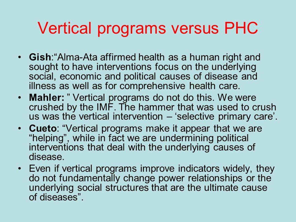 Vertical programs versus PHC