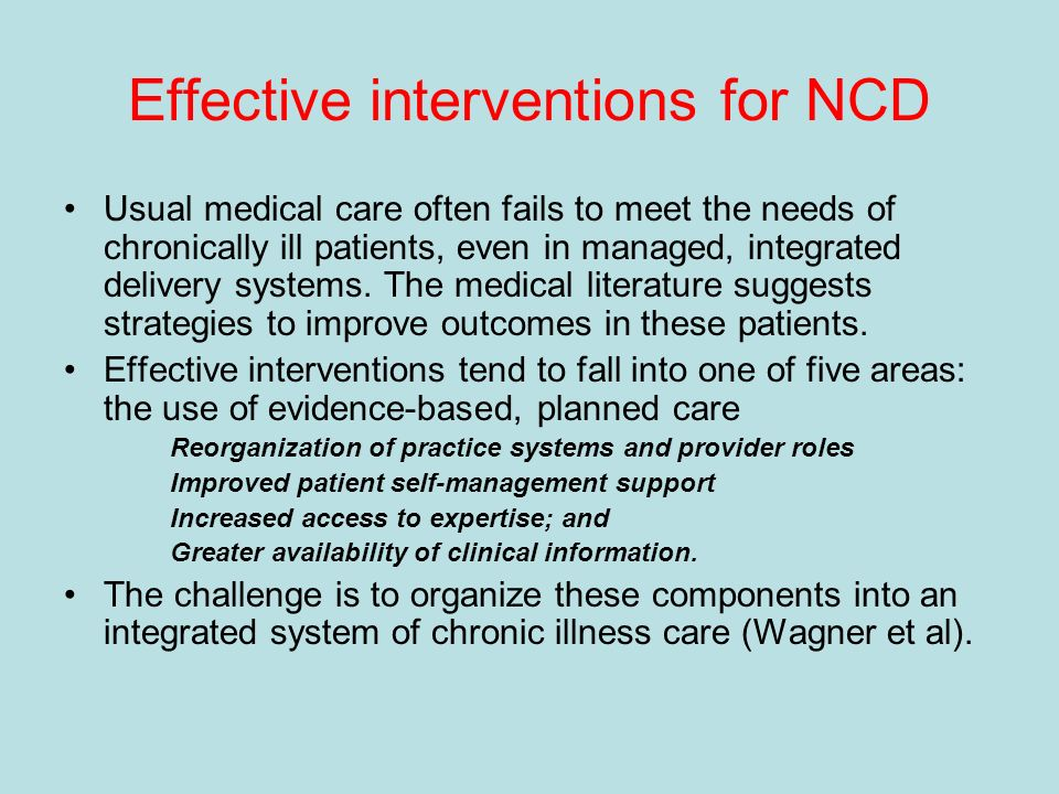 Effective interventions for NCD
