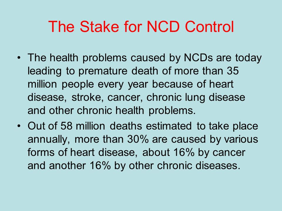 The Stake for NCD Control