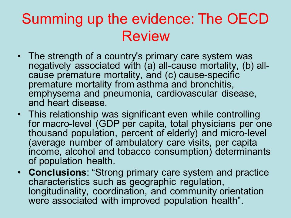 Summing up the evidence: The OECD Review