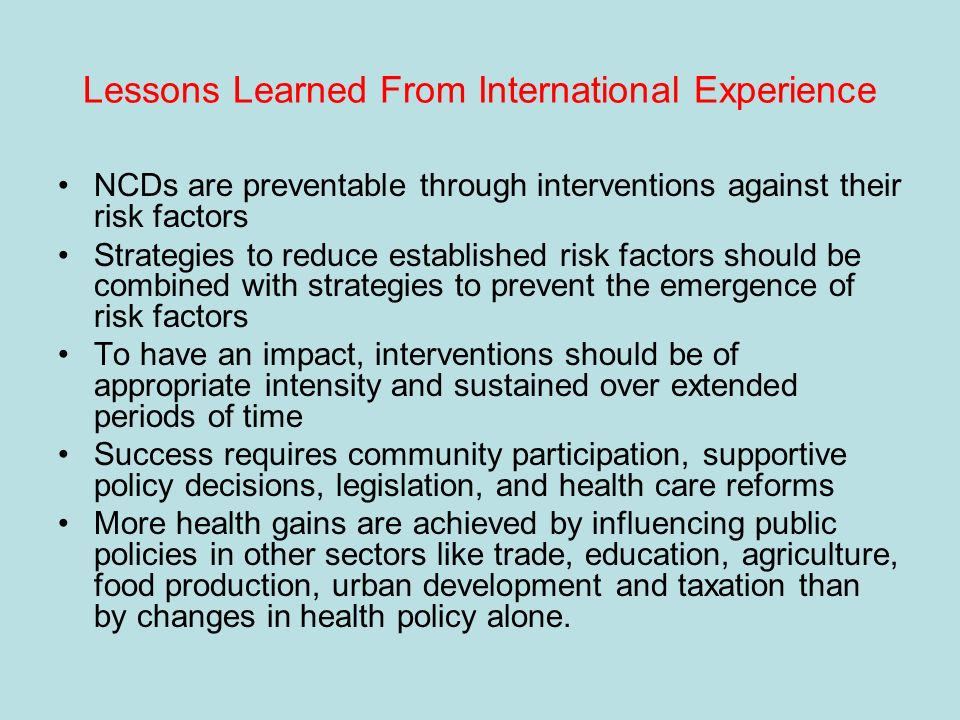 Lessons Learned From International Experience