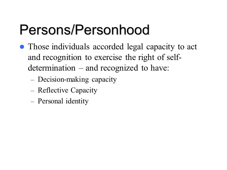 Persons/Personhood