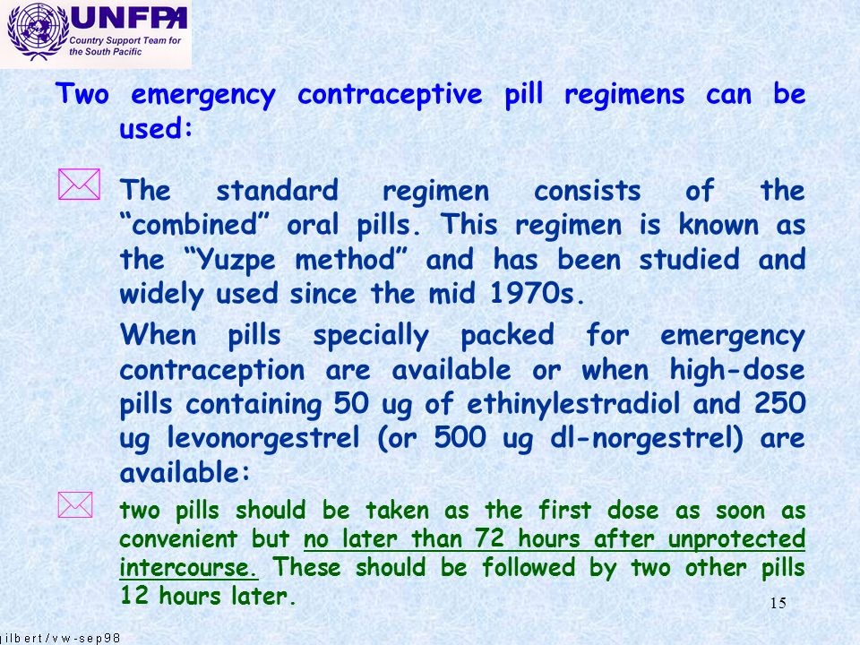 Two emergency contraceptive pill regimens can be used: