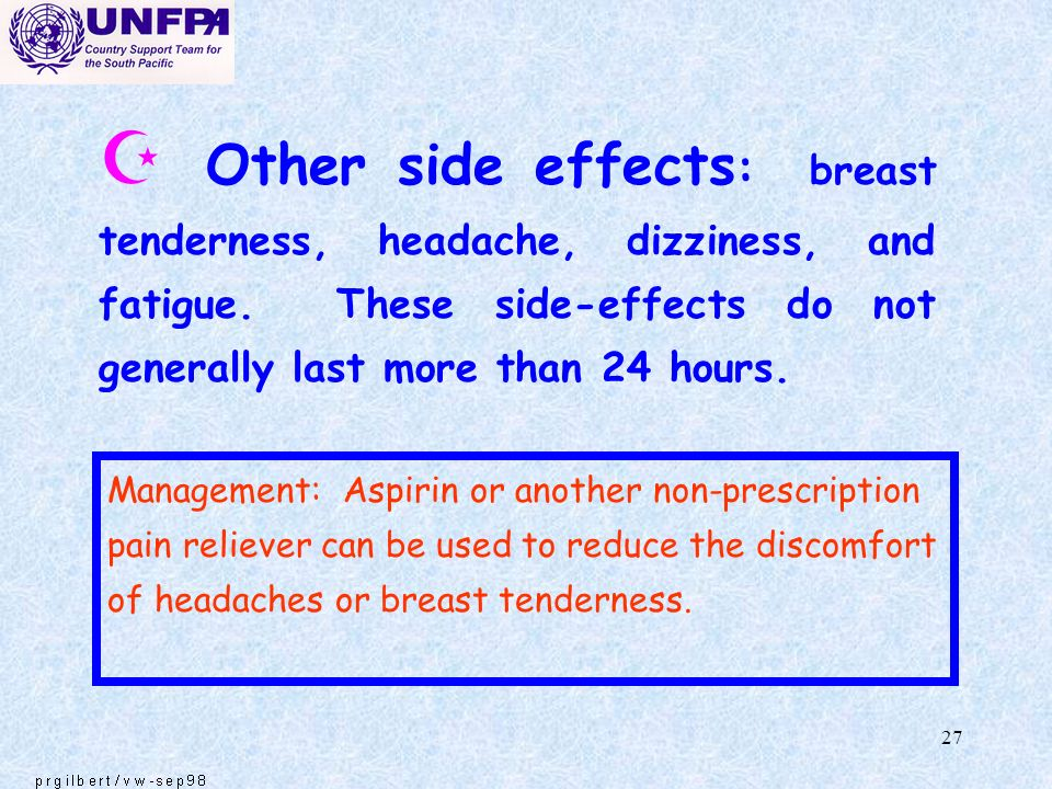 Other side effects: breast tenderness, headache, dizziness, and fatigue. These side-effects do not generally last more than 24 hours.