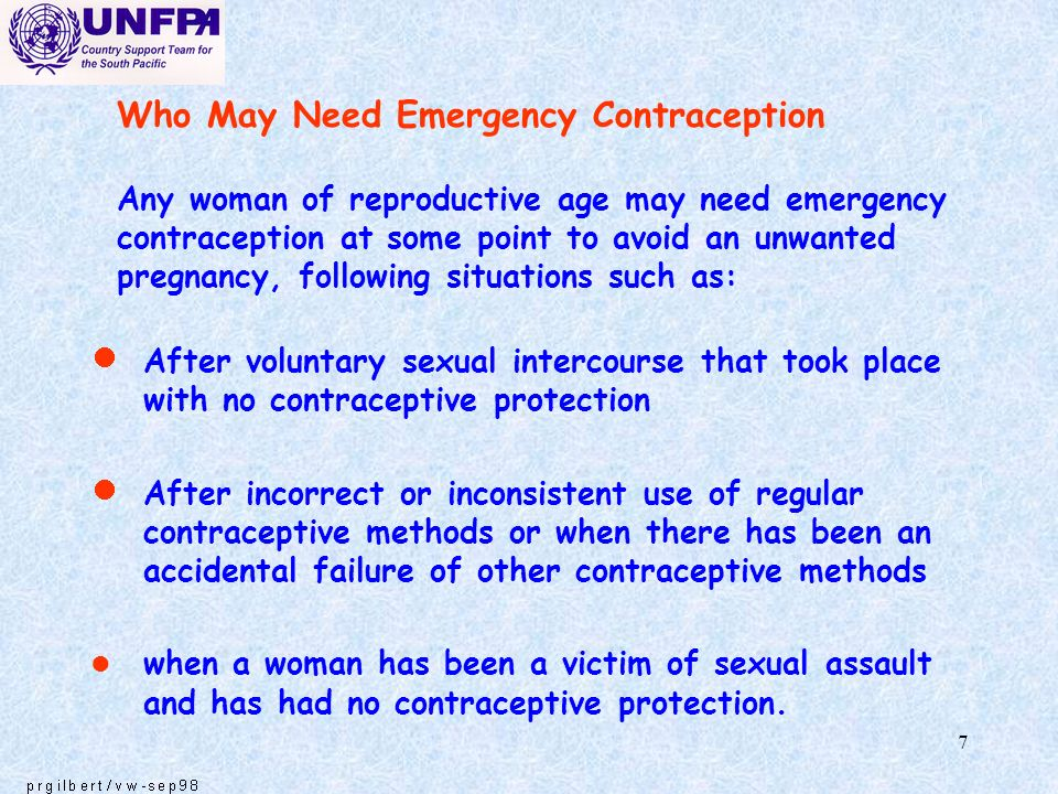 Who May Need Emergency Contraception Any woman of reproductive age may need emergency contraception at some point to avoid an unwanted pregnancy, following situations such as: