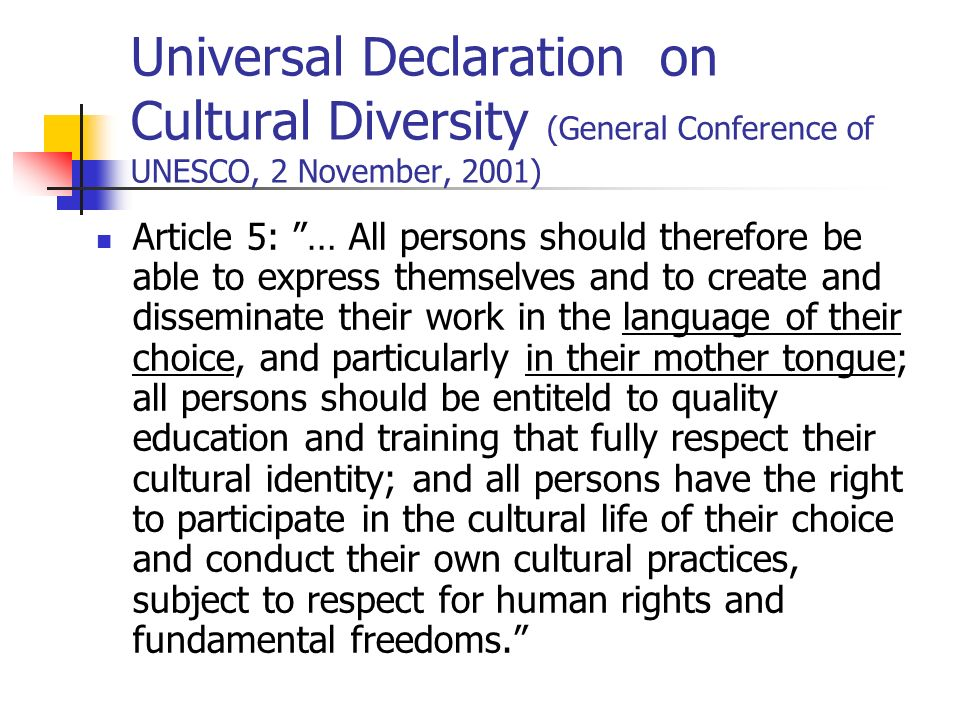 Universal Declaration on Cultural Diversity (General Conference of UNESCO, 2 November, 2001)