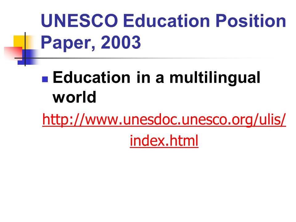 UNESCO Education Position Paper, 2003