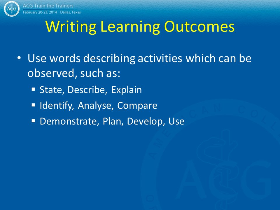 writing learning outcomes 1 writing measurable and observable learner outcomes assessment of learning outcomes this information on writing learning outcomes provides all the information.