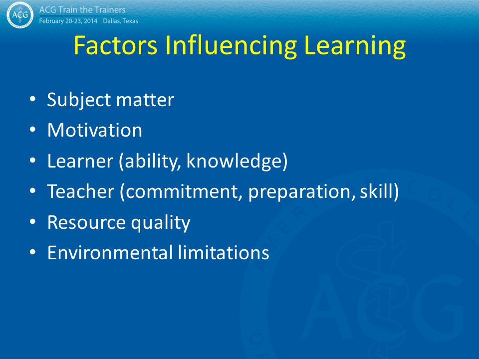 factors that influence learning essay Learning and environmental factors education essay american public university leslie button abstract having the proper environment is essential in a students.