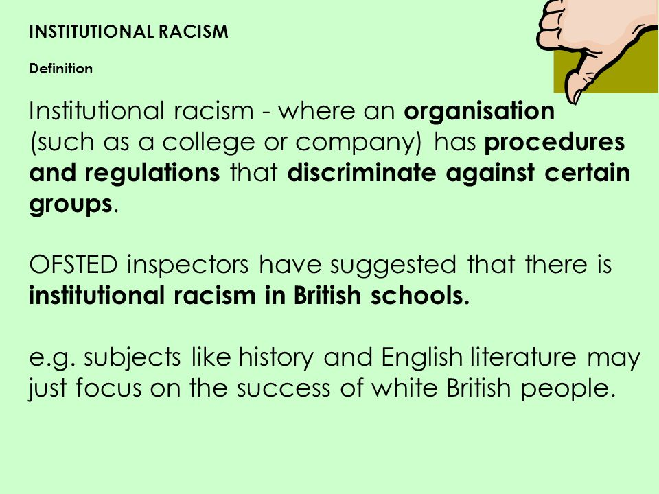 how to explain institutional racism