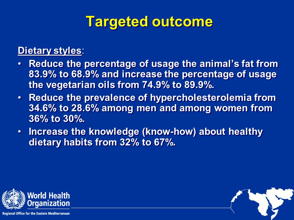 Targeted outcome Dietary styles: