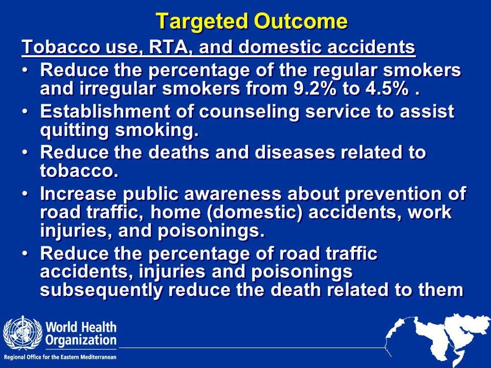 Targeted Outcome Tobacco use, RTA, and domestic accidents