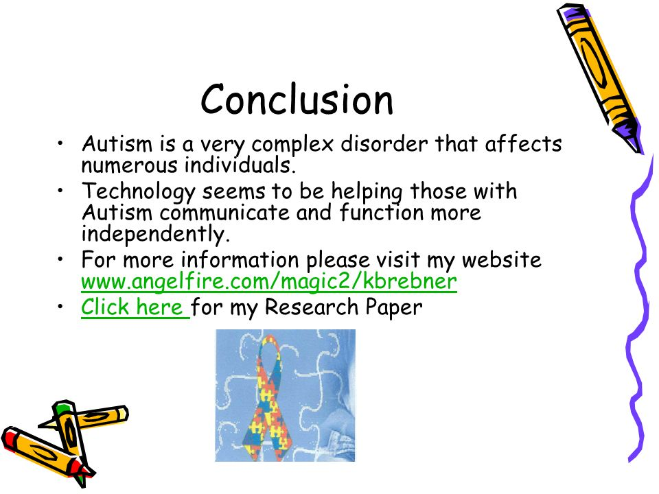 research papers of autism Section of the research autism website which provides information about interventions used to help people with interventions, treatments and therapies for autism.