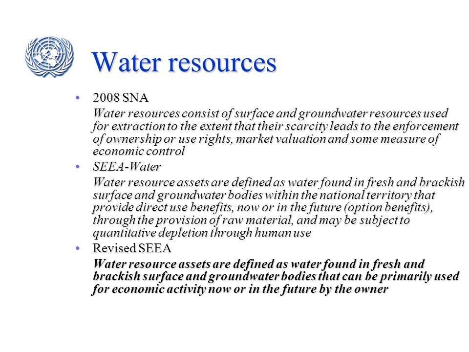 Water resources 2008 SNA.