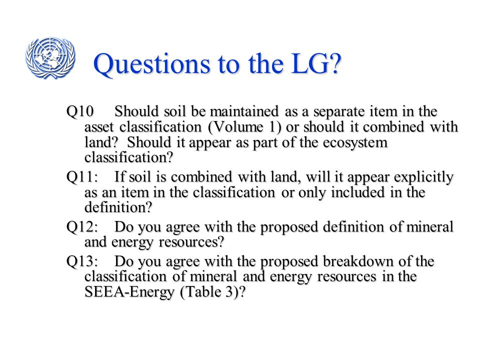 Questions to the LG