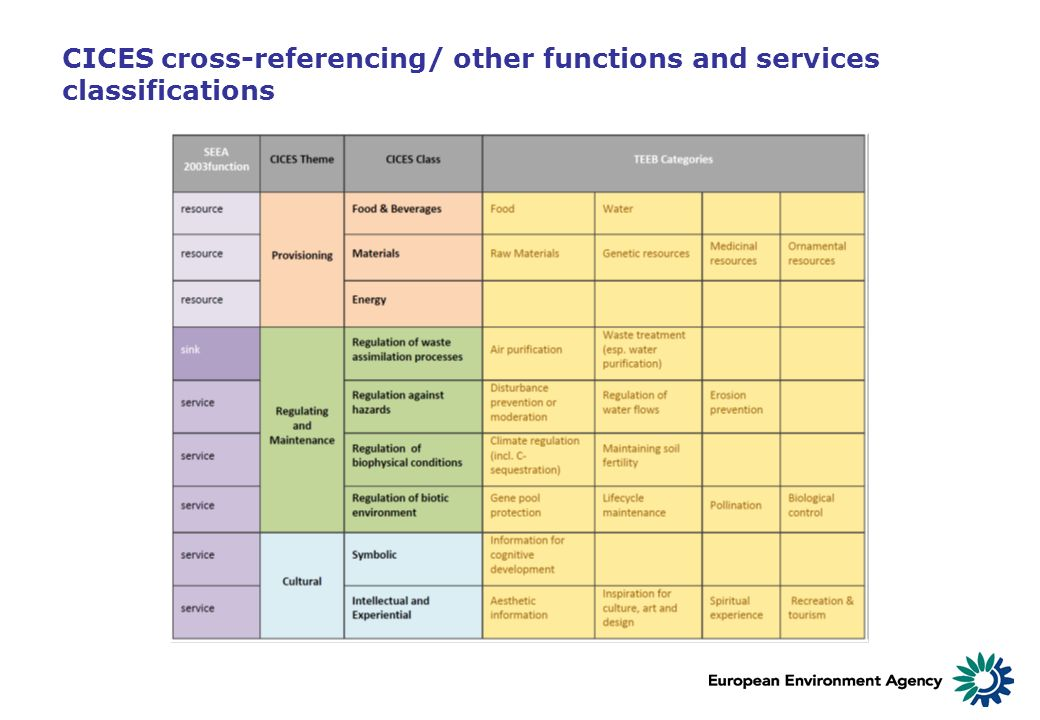 CICES cross-referencing/ other functions and services classifications