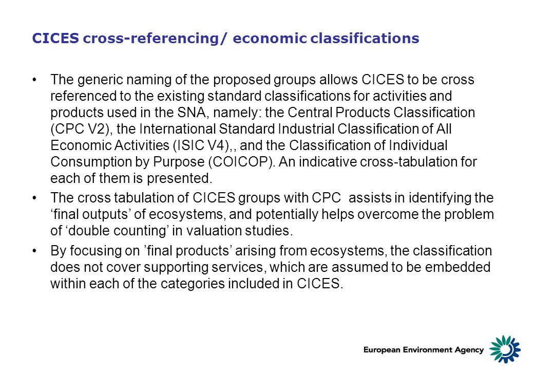 CICES cross-referencing/ economic classifications