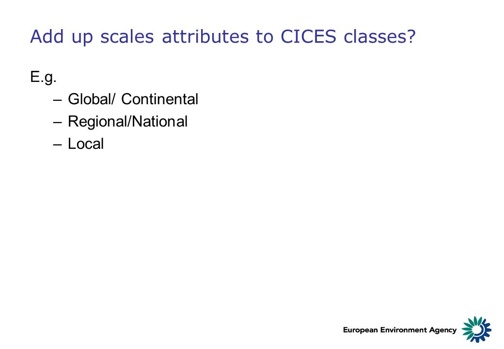 Add up scales attributes to CICES classes