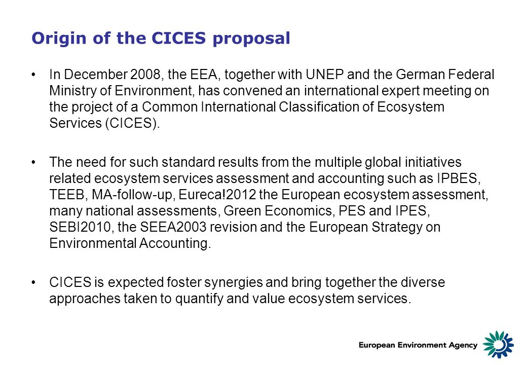 Origin of the CICES proposal
