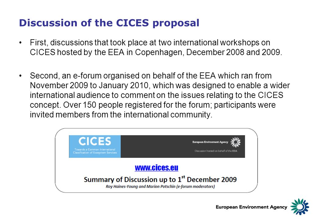 Discussion of the CICES proposal