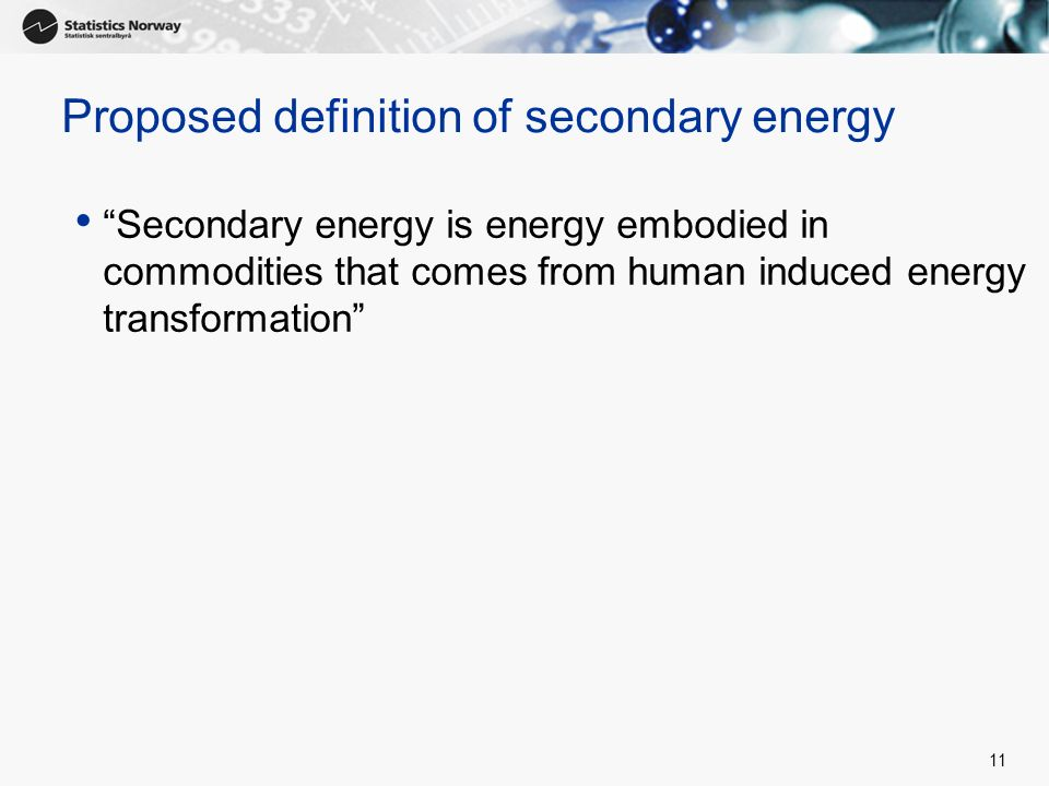 Proposed definition of secondary energy