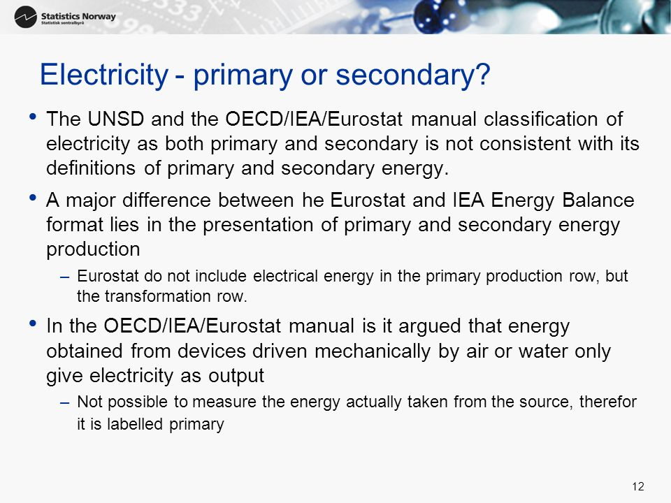 Electricity - primary or secondary