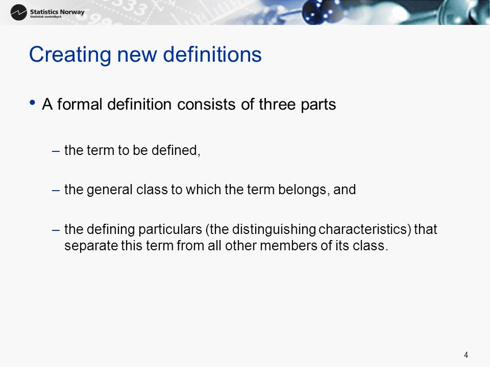 Creating new definitions