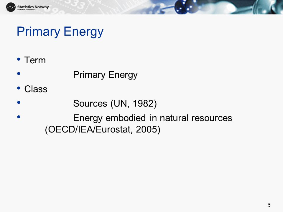 Primary Energy Term Primary Energy Class Sources (UN, 1982)