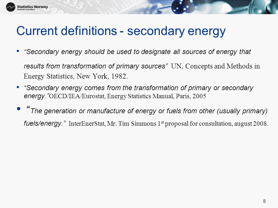 Current definitions - secondary energy