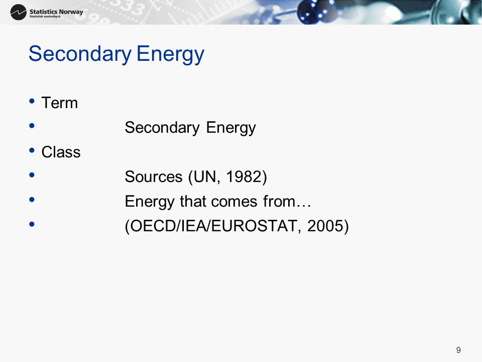 Secondary Energy Term Secondary Energy Class Sources (UN, 1982)