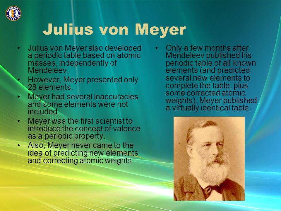 Unit one chemistry horsham college ppt video online download julius von meyer julius von meyer also developed a periodic table based on atomic masses urtaz Image collections