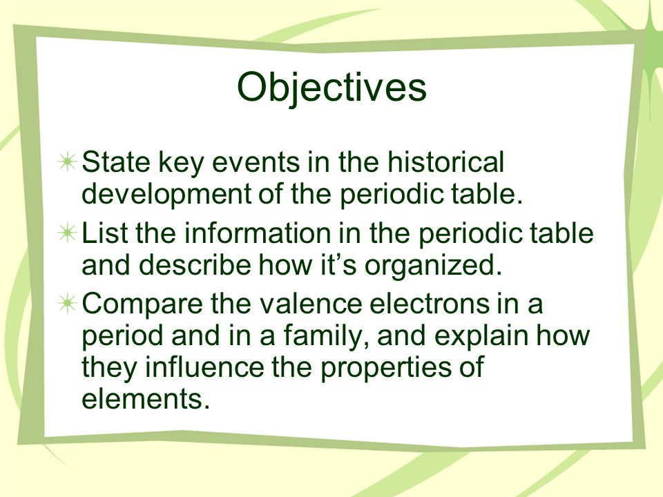 Chapter 3 section 2 organizing the elements ppt video online list the information in the periodic table and describe how its organized compare the valence electrons in a period and in a family and explain how they urtaz Choice Image