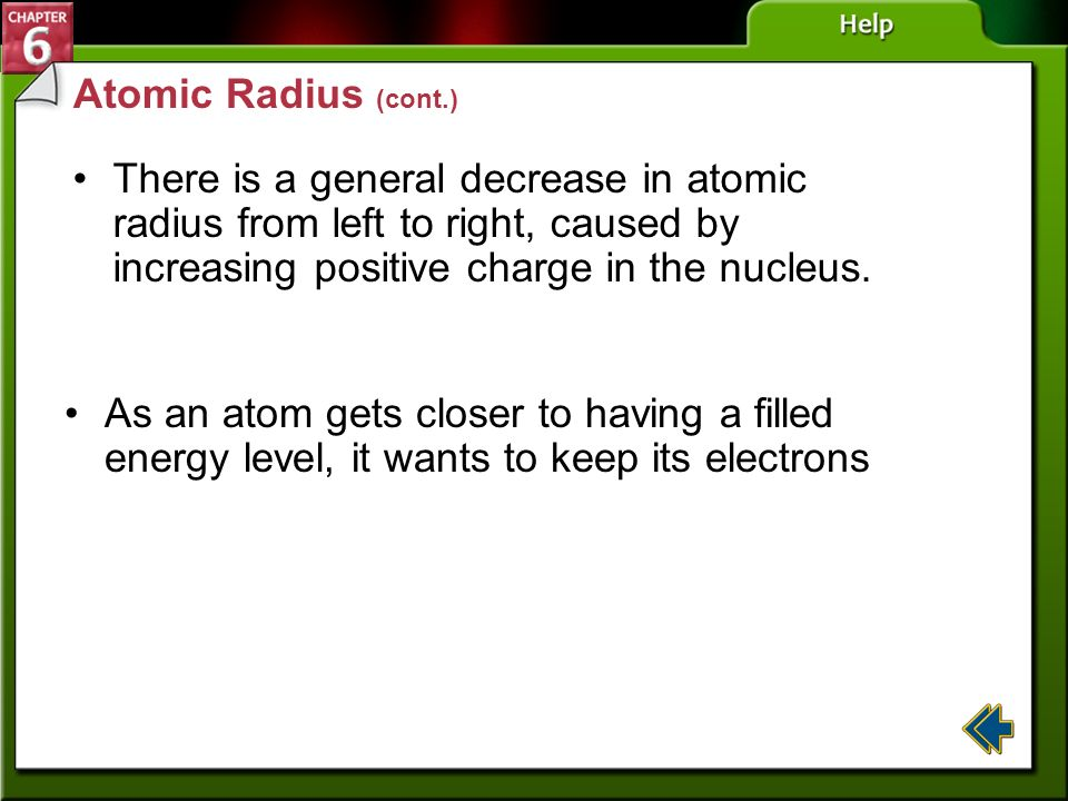 Atomic Radius (cont.) There is a general decrease in atomic radius from left to right, caused by increasing positive charge in the nucleus.