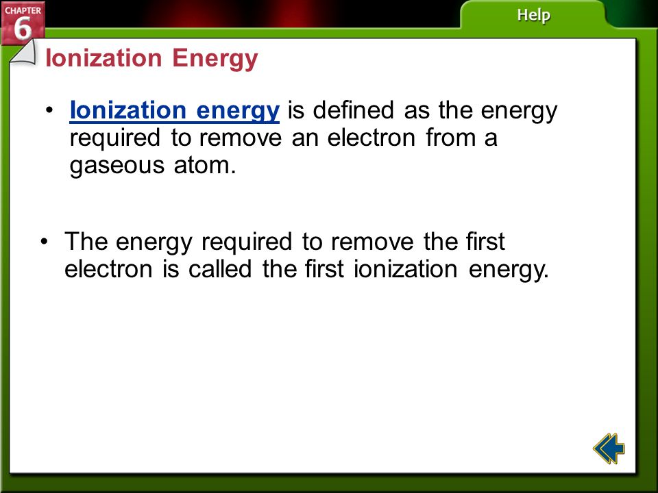 Ionization Energy Ionization energy is defined as the energy required to remove an electron from a gaseous atom.